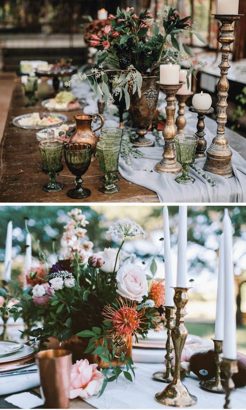 Hochzeitstrend Metallic, Hochzeit Rosegold, Tischdeko rosegold