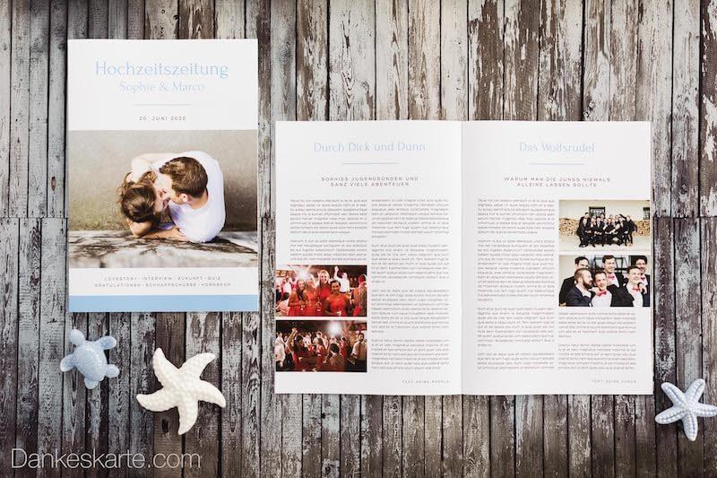 Hochzeitszeitungen gestalten bei Dankeskarte.com