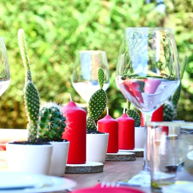Tischdeko Hochzeit mit Kerzen und Kakteen