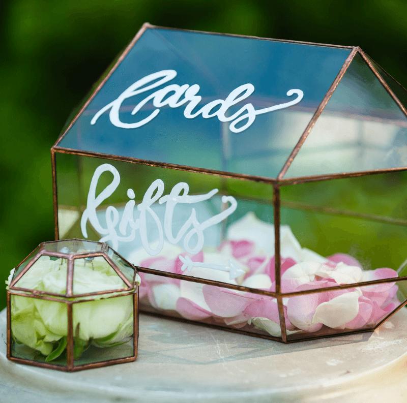 Hochzeitsdeko geometrisch, Kartenbox Glas
