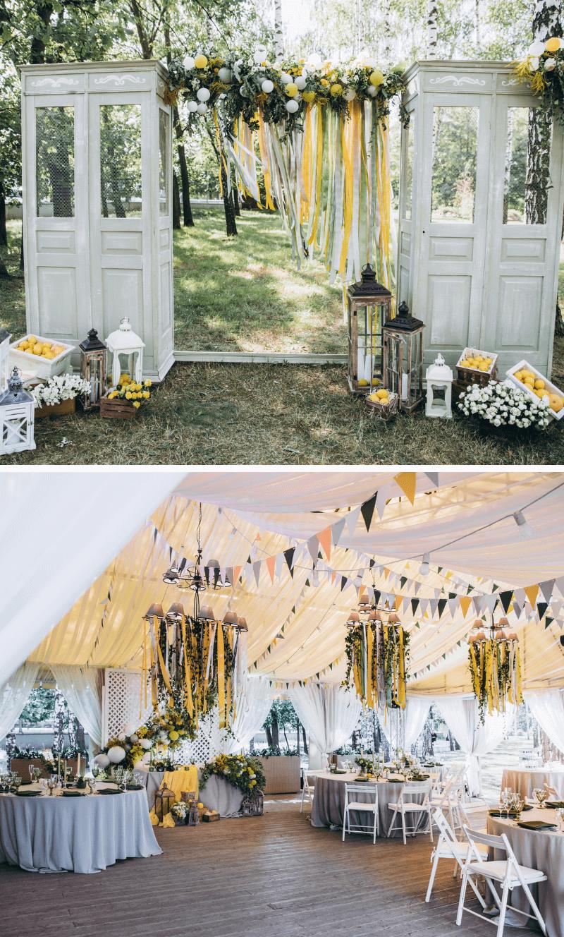 Hochzeit gelb, Hochzeitsdeko gelb