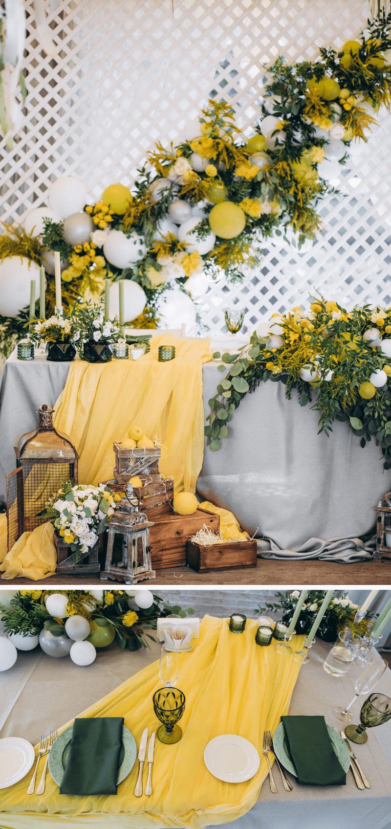 Hochzeitsdeko gelb, Hochzeit Tischdeko gelb