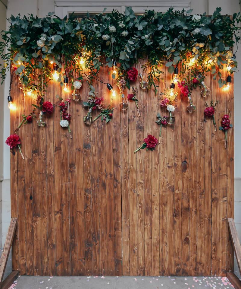 Holz Fotohintergrund für Fotobox Hochzeit
