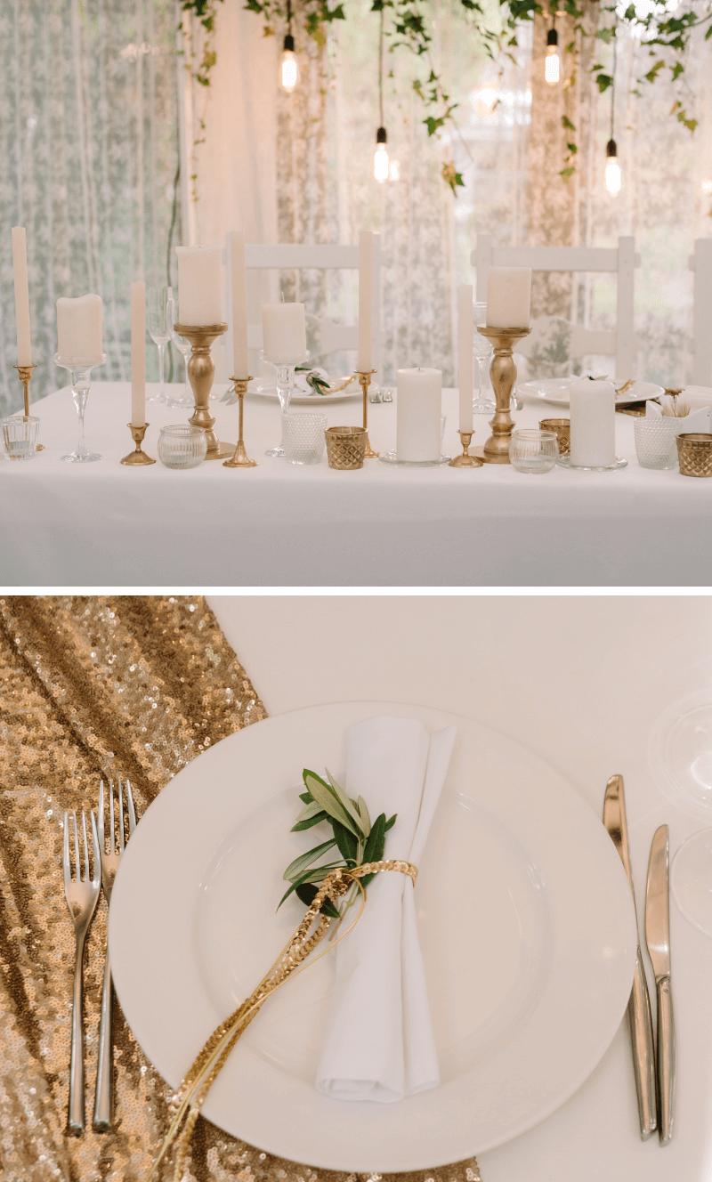 Hochzeit in Gold, Hochzeitsdeko gold weiß, Glamour Hochzeit, Hochzeit gold weiß