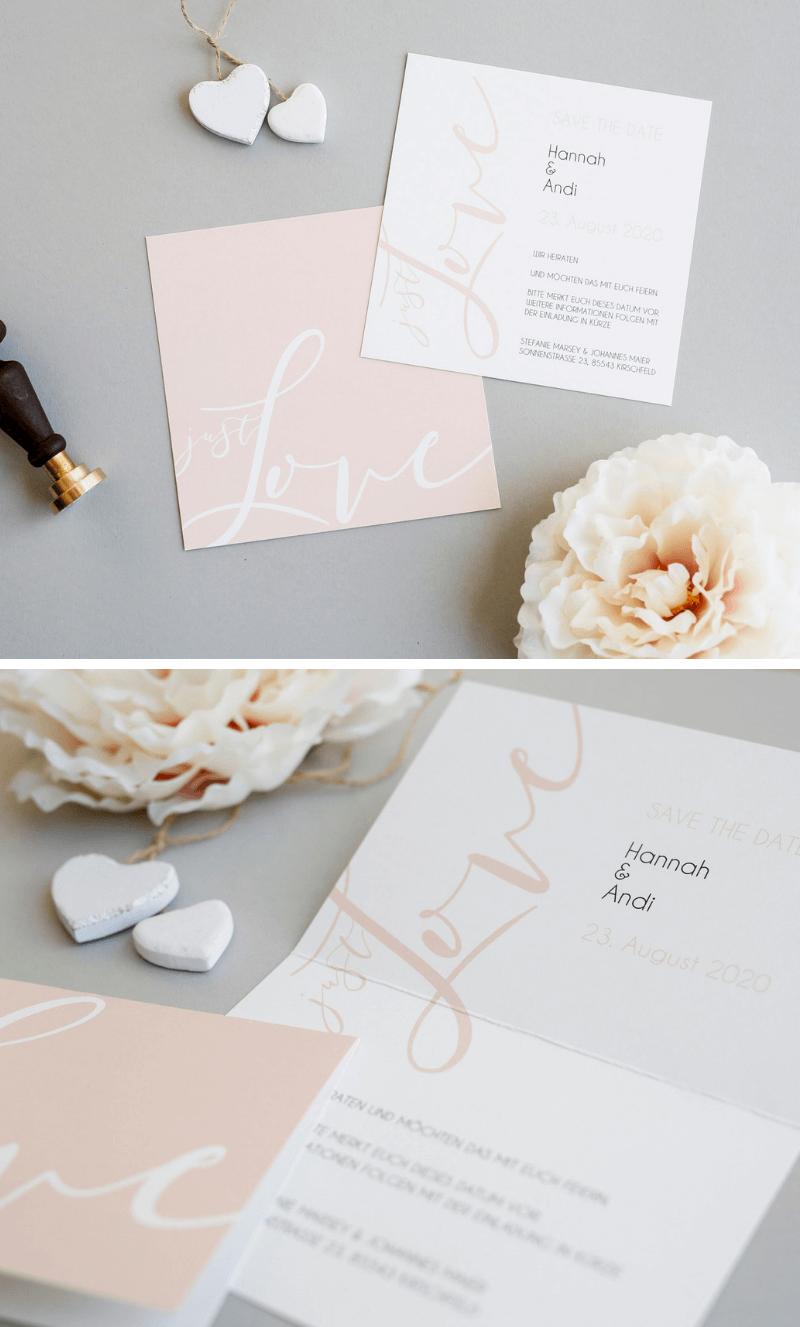 kreative hochzeitskarten, hochzeitseinladungen, hochzeitspapeterie ideen, einladungskarten rosa, hochzeitseinladung kalligraphie