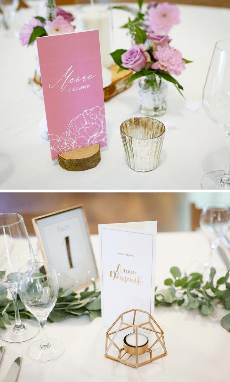 kreative hochzeitskarten, hochzeitseinladungen, hochzeitspapeterie ideen, menükarte, menükarten vintage, menükarten rosegold