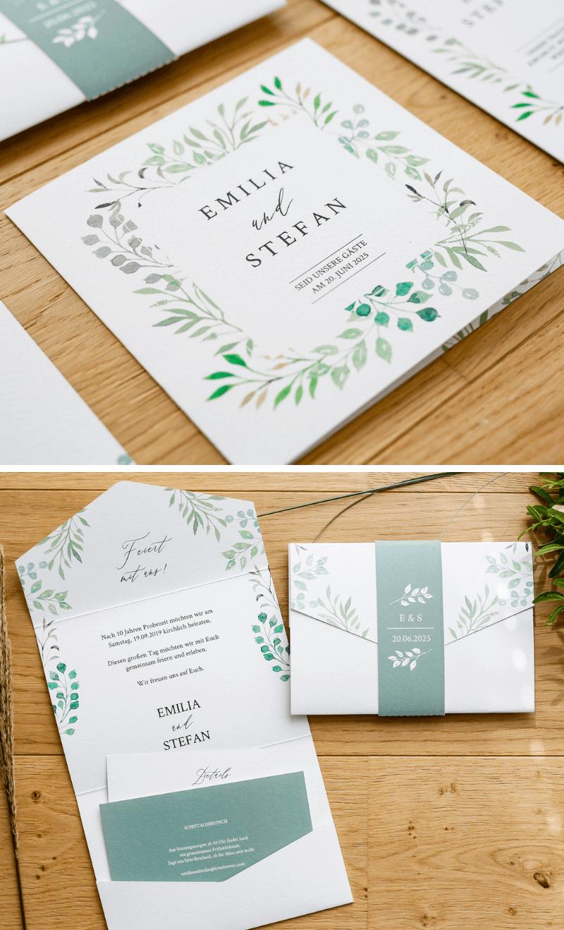 kreative hochzeitskarten, hochzeitseinladungen, hochzeitspapeterie ideen, einladungskarten eukalyptus, hochzeitseinladung grün