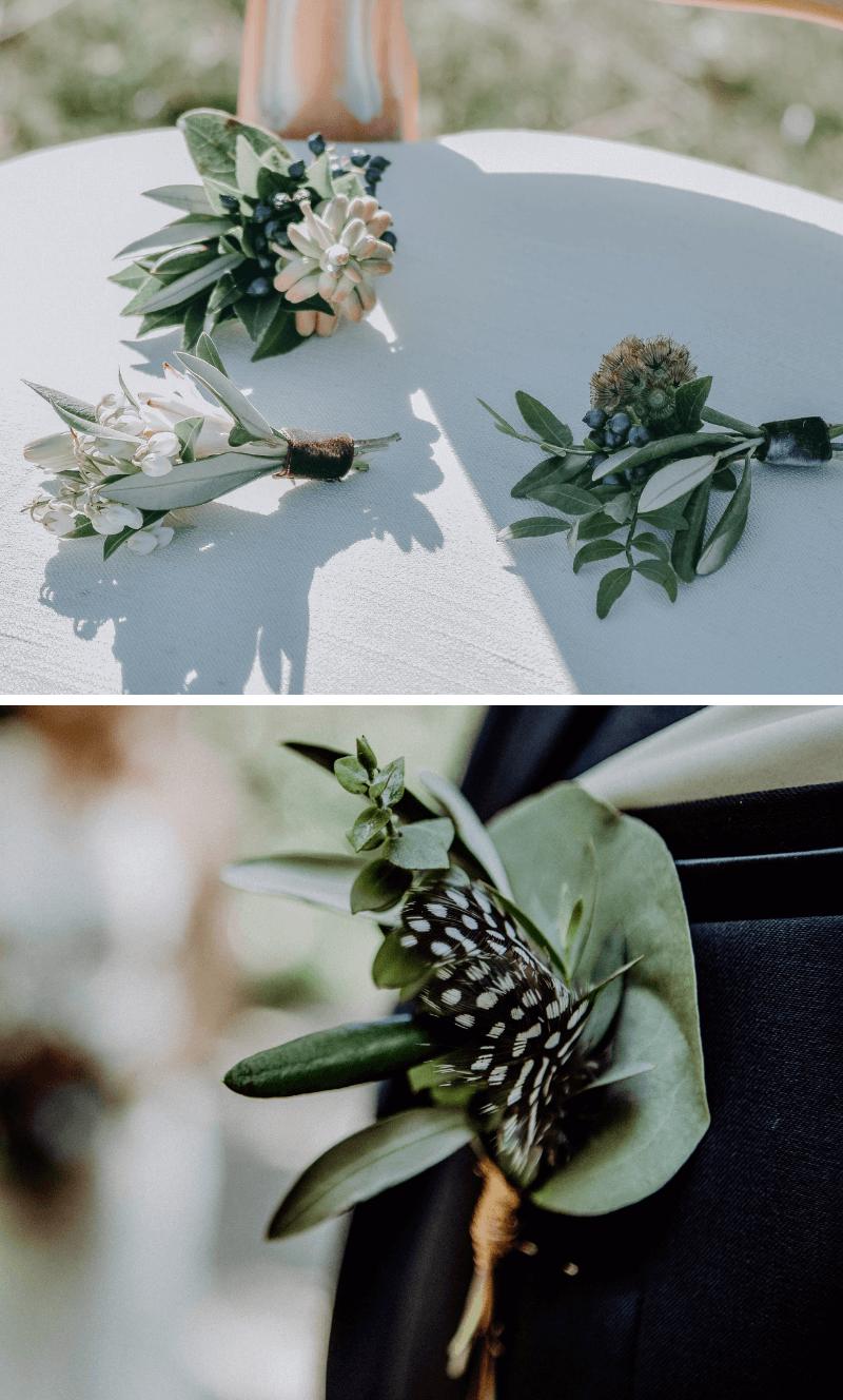 Hochzeit Olivenzweige, Hochzeitsdeko mit Olivenzweige, Hochzeitsdeko Oliven, Hochzeitsblumen Olivenblätter, Bräutigam Anstecker Oliven