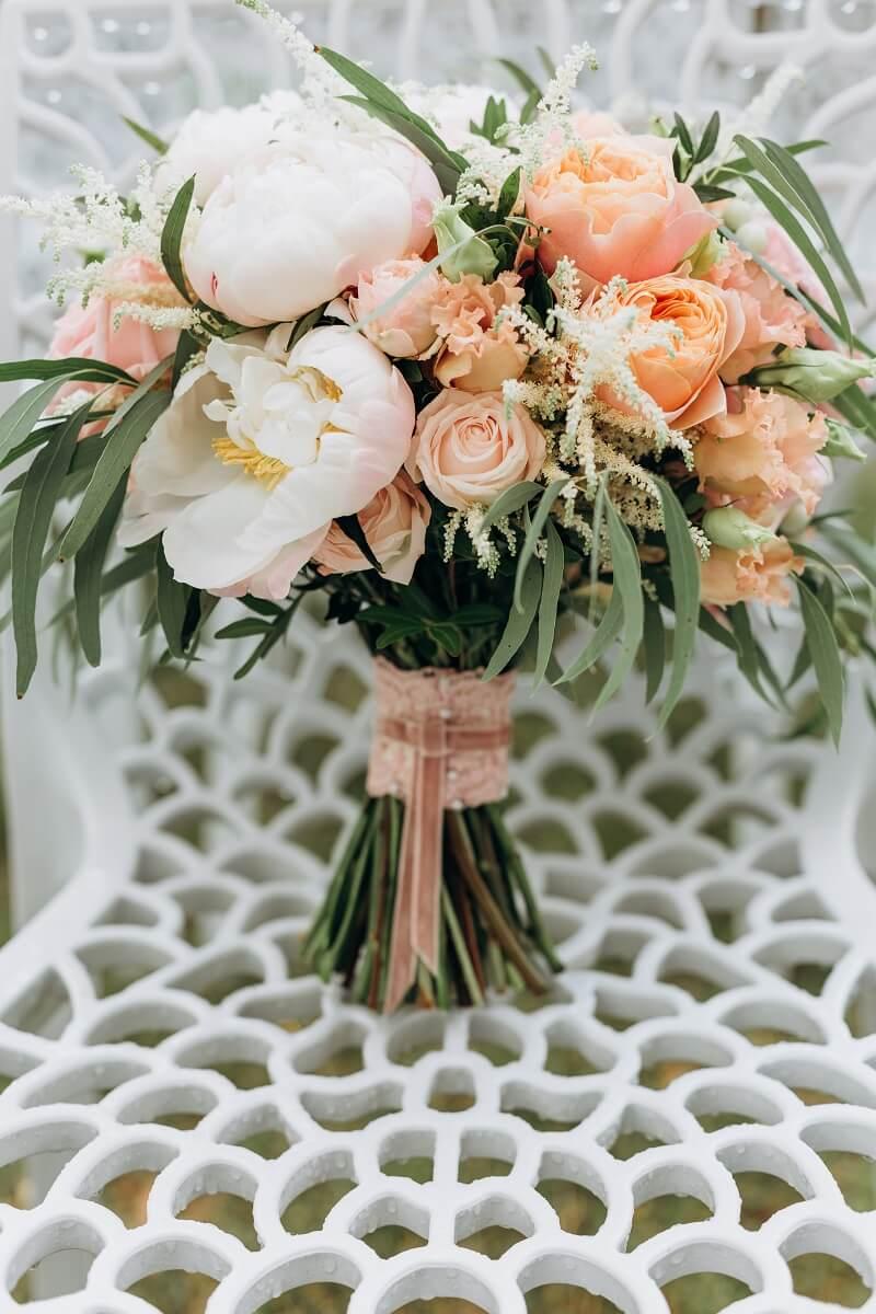 Hochzeit in Blushtönen, Blush Hochzeit Pastell, Hochzeit Altrosa, Brautstrauß apricot