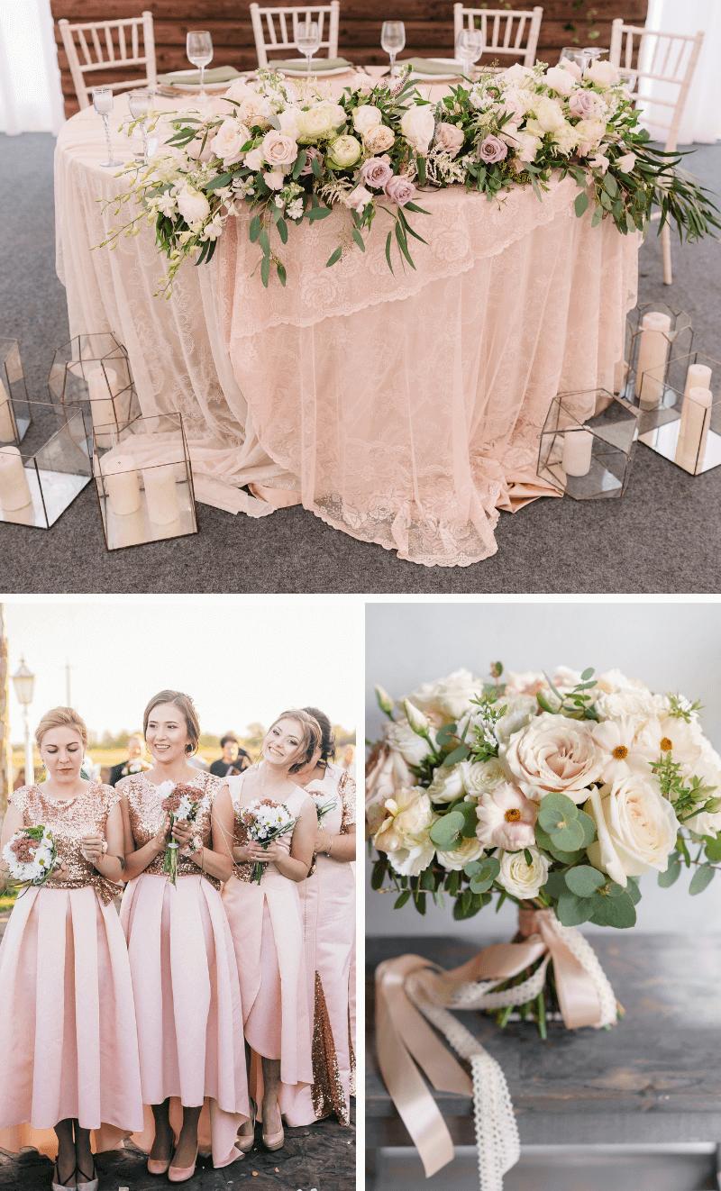 Hochzeit in Blushtönen, Blush Hochzeit Pastell, Hochzeit Altrosa