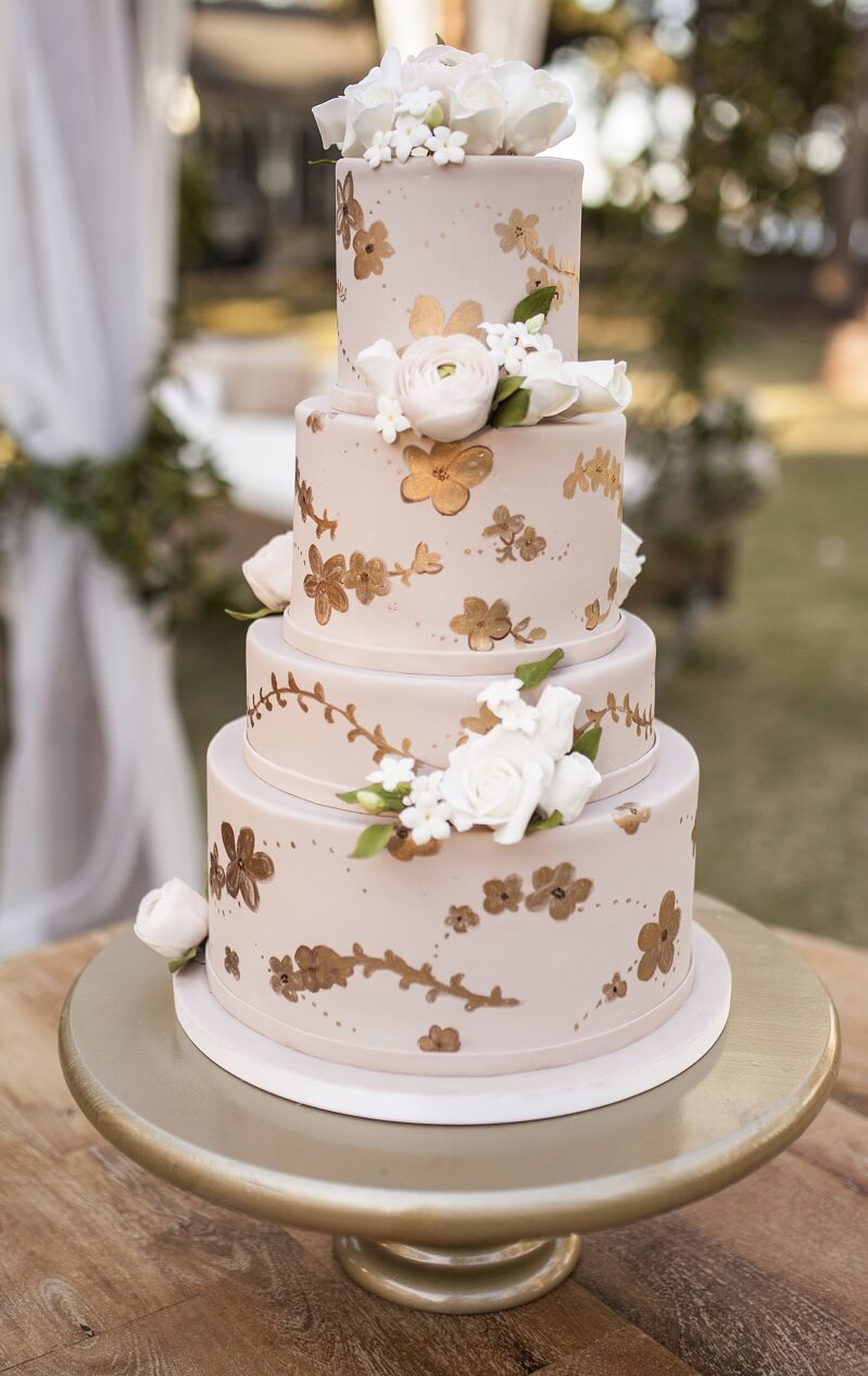 Blush Hochzeit, Hochzeitstorte Altrosa