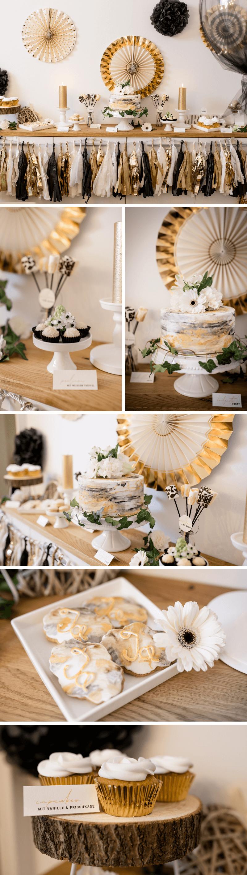 Hochzeit glamour, Hochzeit gold schwarz, Hochzeit klein, Hochzeit zu hause feiern, Sweet Table, Candy Bar gold