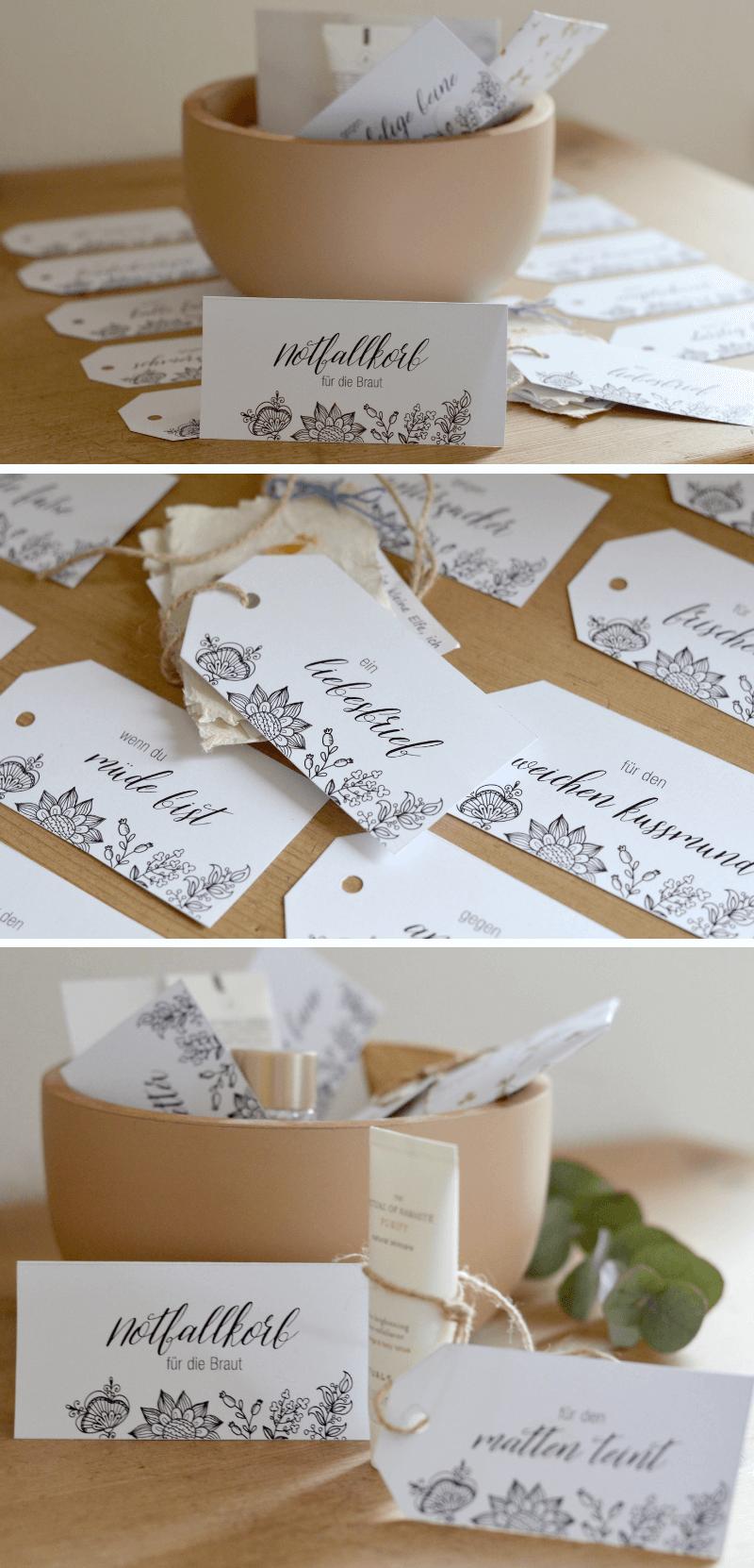 Notfallkorb Hochzeit, Notfallkorb Braut, Bräutigam Survival Kit, Hochzeitsgeschenk