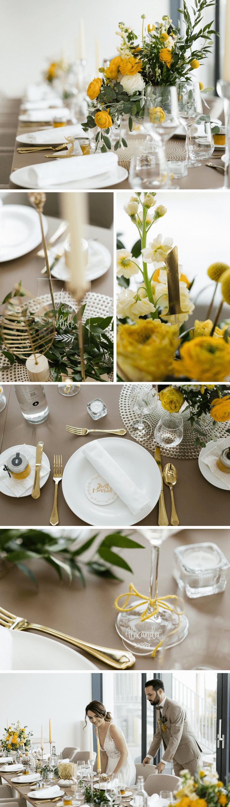 Hochzeit im Grünen, Hochzeit elegant, Hochzeit grün, Hochzeit gelb, Hochzeit gold, Hochzeit Tischdeko