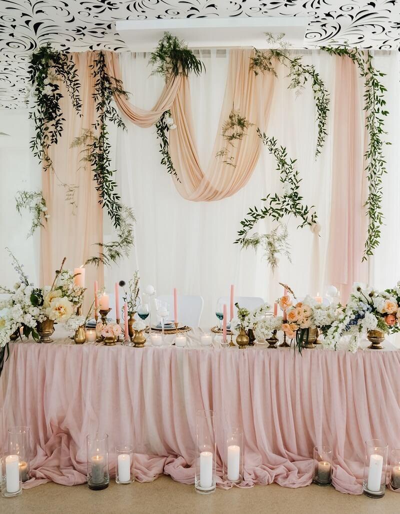 Brauttisch rosa, Brauttisch Hintergrund