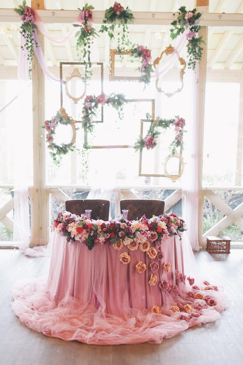 Brauttisch rosa