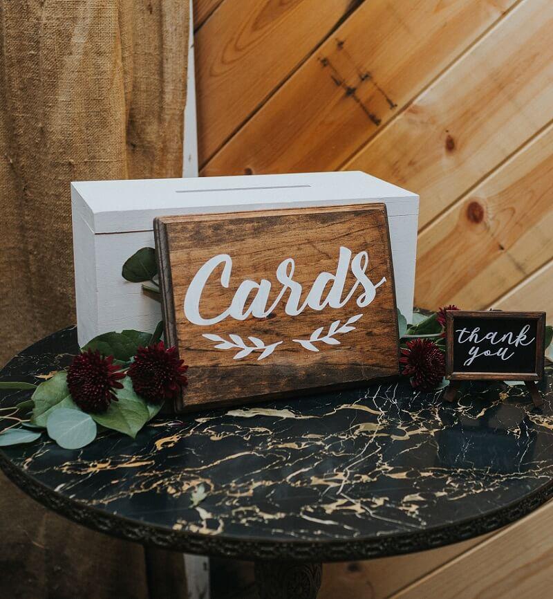 Kartenbox Hochzeit Ideen, Hochzeitschild Cards