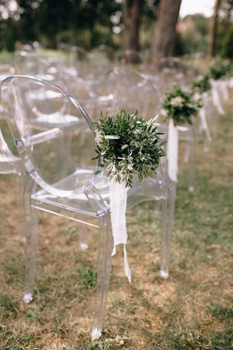 Hochzeit Stuhldeko grün