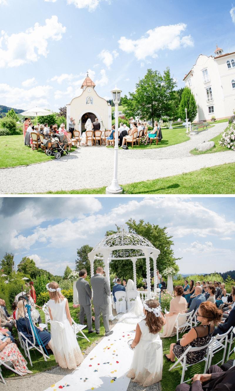 kleine Hochzeit im Freien, Rosengarten Bergergut Oberösterreich