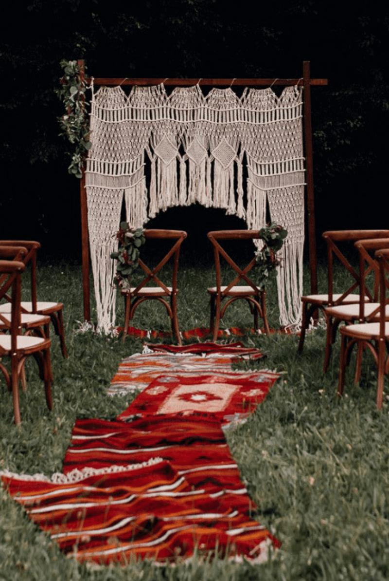 Makramee Hochzeitsbogen, Boho Traubogen