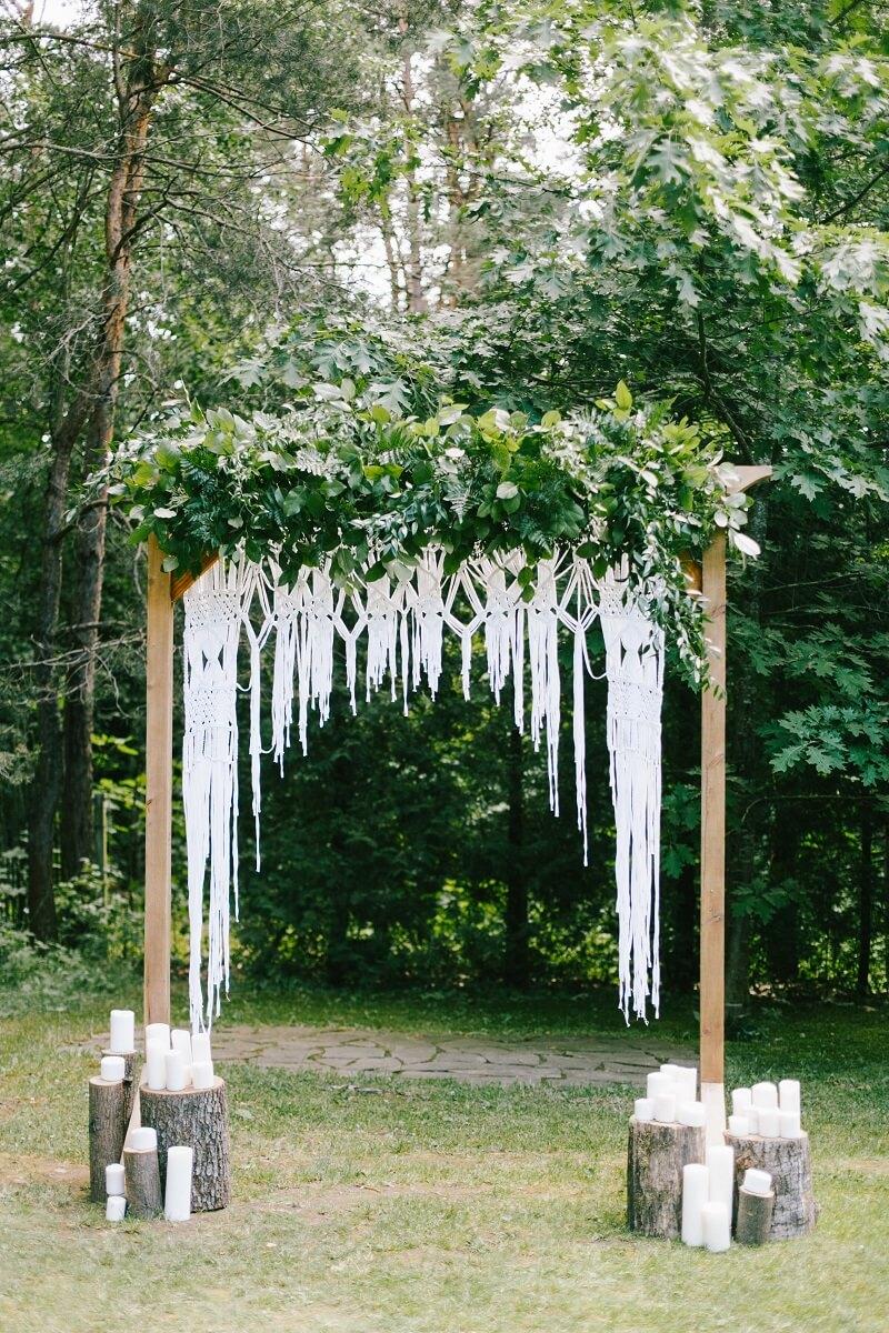 Traubogen Boho, Makramee Hochzeitsbogen