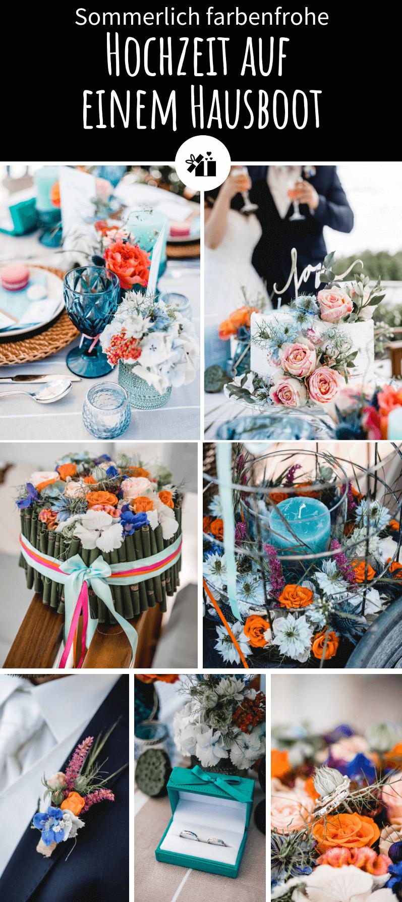 Sommerlich farbenfrohe Hochzeit auf einem Hausboot