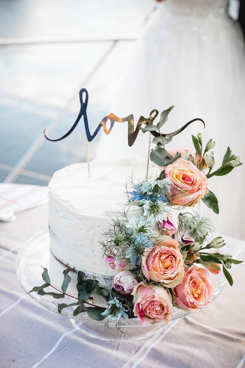 Hochzeitstorte klein, Sommerhochzeit