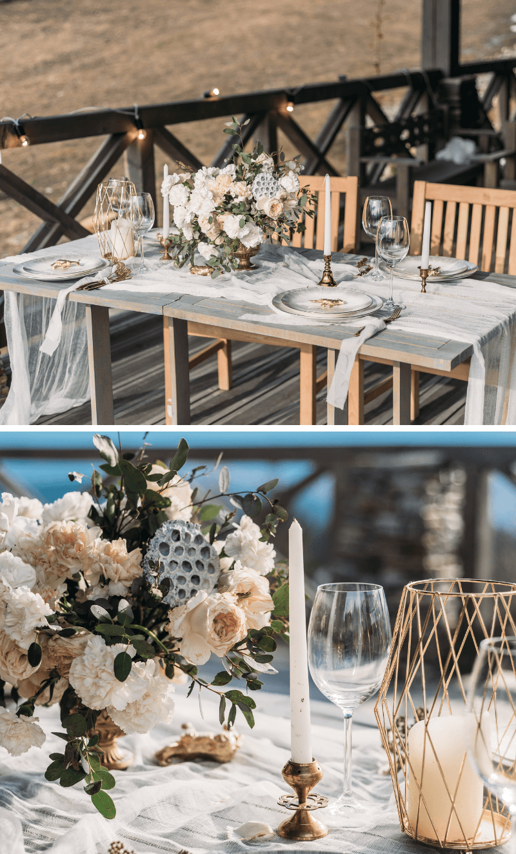 Tischdeko Hochzeit beige grau