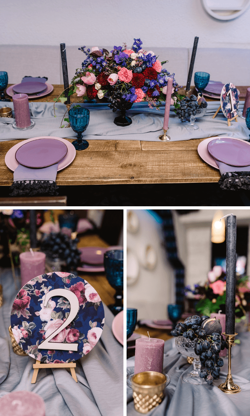 Tischdeko Hochzeit lila