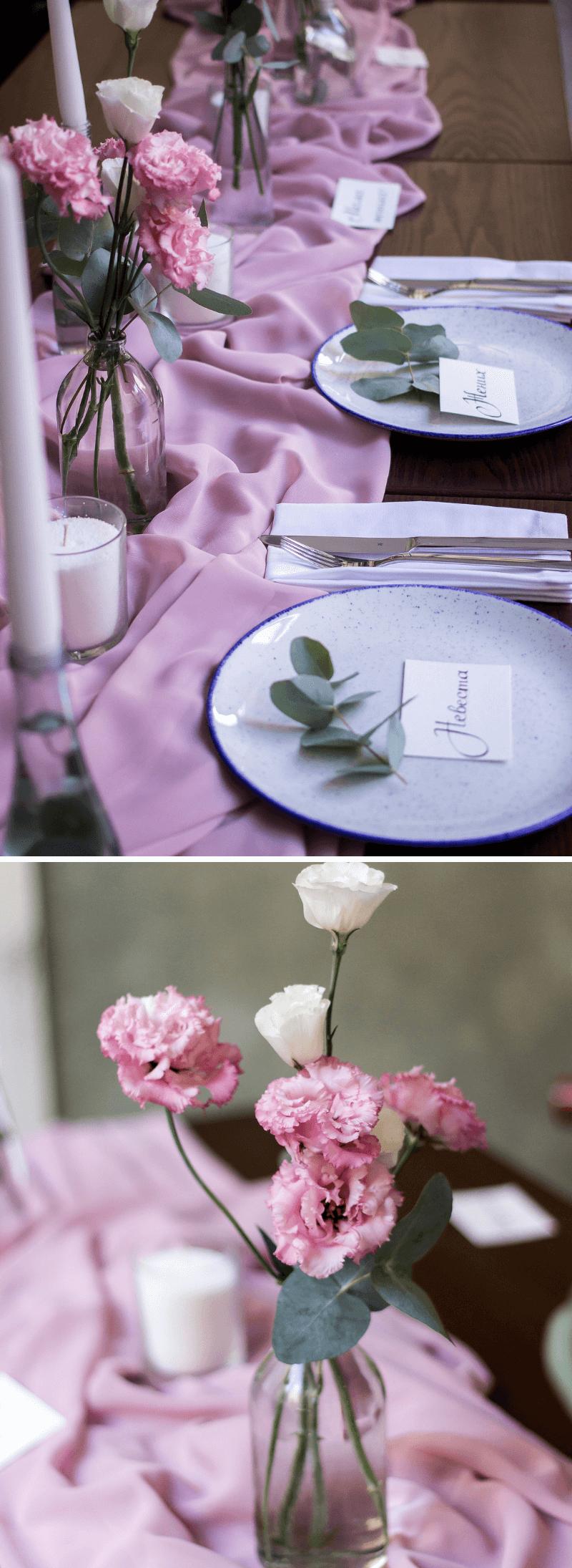 Tischdeko Hochzeit rosa lila
