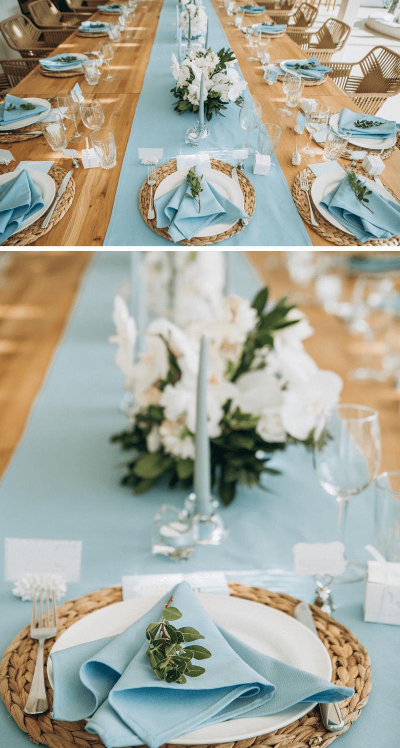 Tischdeko Hochzeit blau