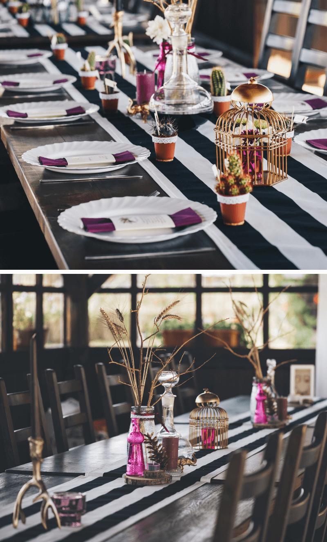 Hochzeitsdeko lange Tische