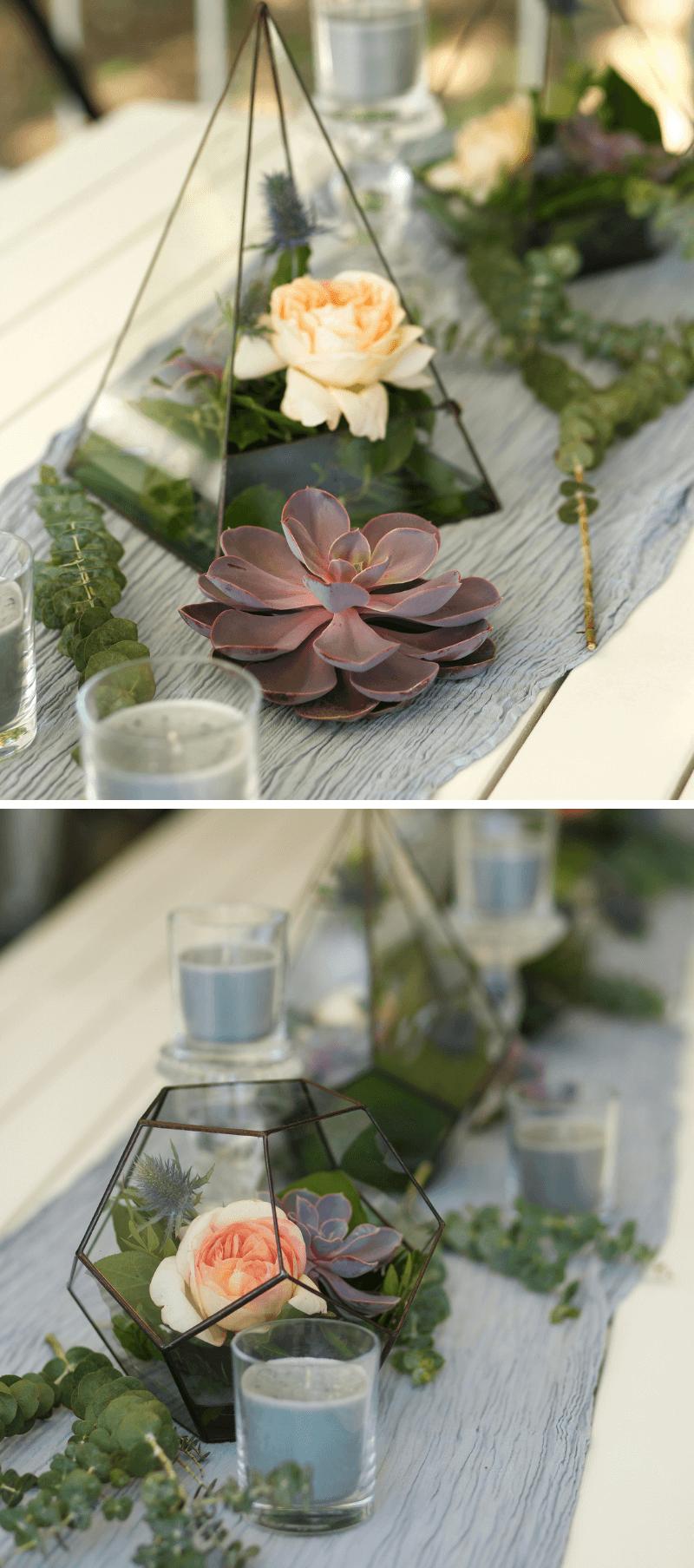 Tischdeko Hochzeit mit Sukkulenten