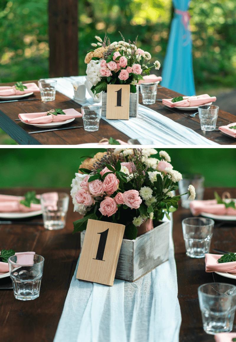 Tischdeko Hochzeit lange Tische