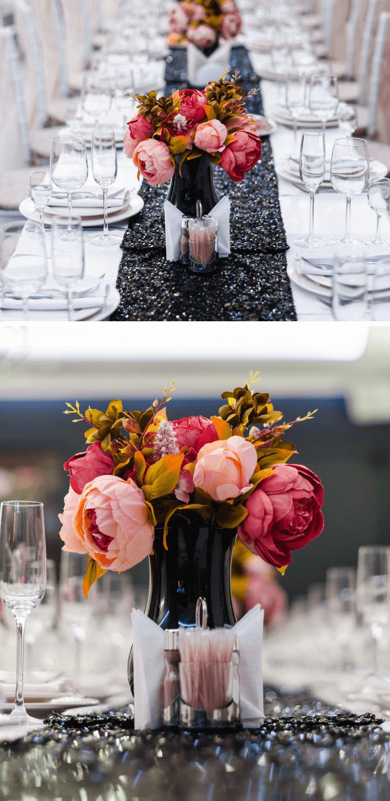 Tischdeko Hochzeit schwarz