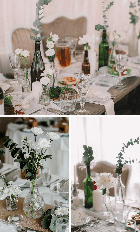 Tischdeko Hochzeit Flaschen