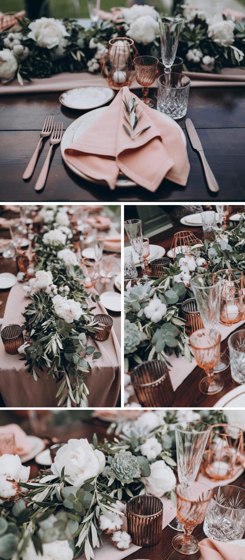 Tischdeko Hochzeit rosa, Tischgirlande Hochzeit, Hochzeitsdeko elegant
