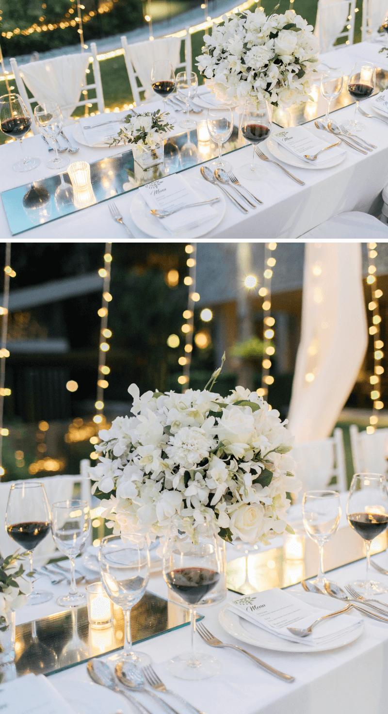 Tischdeko elegant, Hochzeitsdeko Spiegel