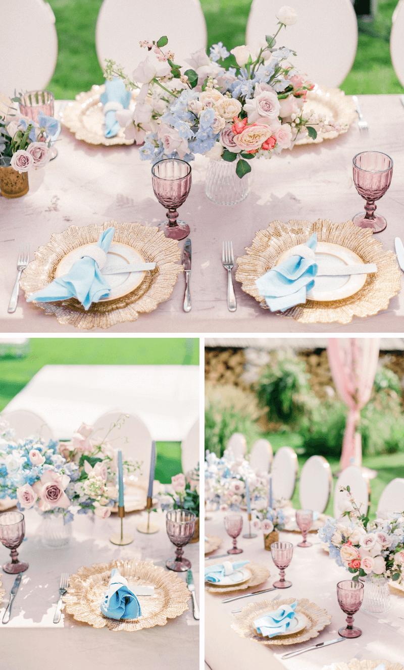 Tischdeko Hochzeit pastell