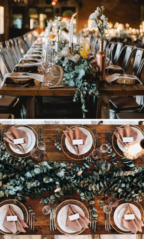 Tischdeko Hochzeit Eukalyptus, grüne Tischdeko