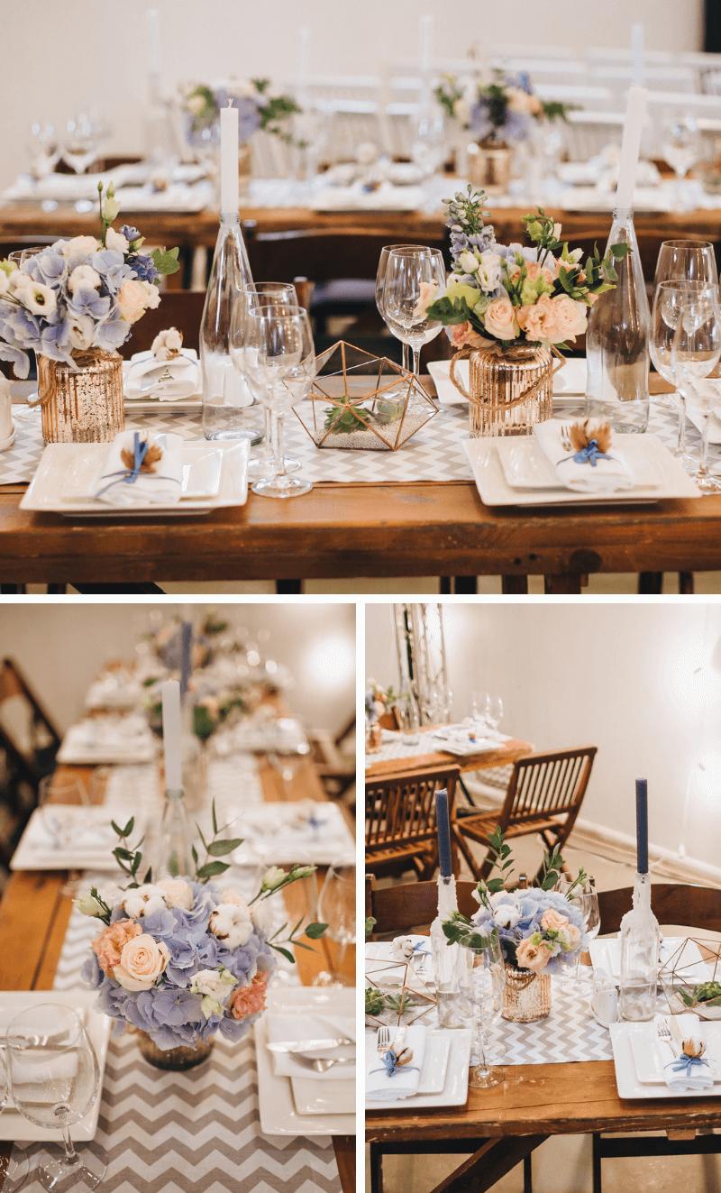 Tischdeko Hochzeit mit Tischläufer