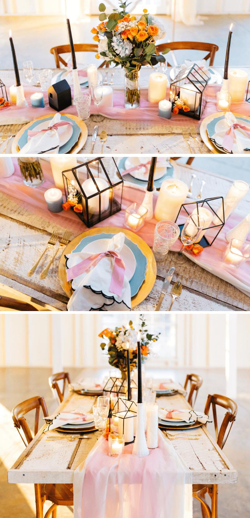 Tischdeko Hochzeit modern, Hochzeitsdeko rosa