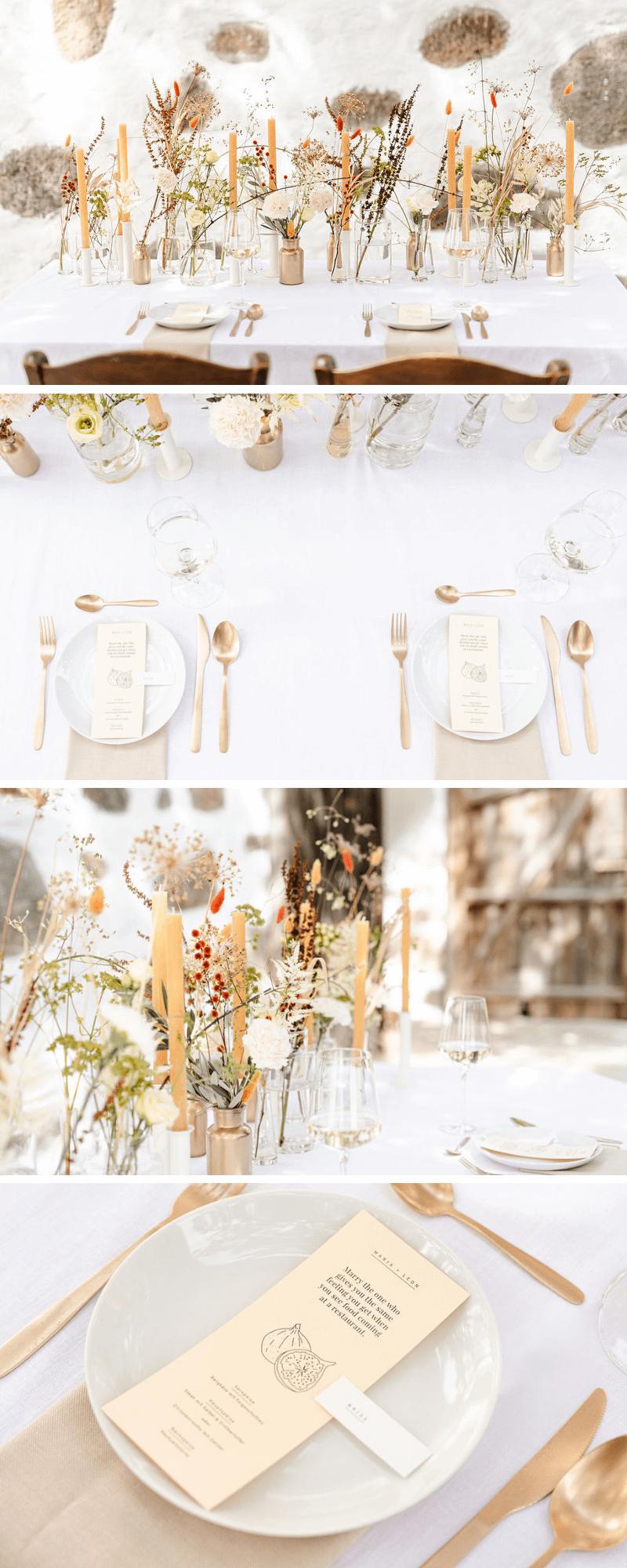 Tischdeko natürlich, Hochzeitsdeko beige creme gold