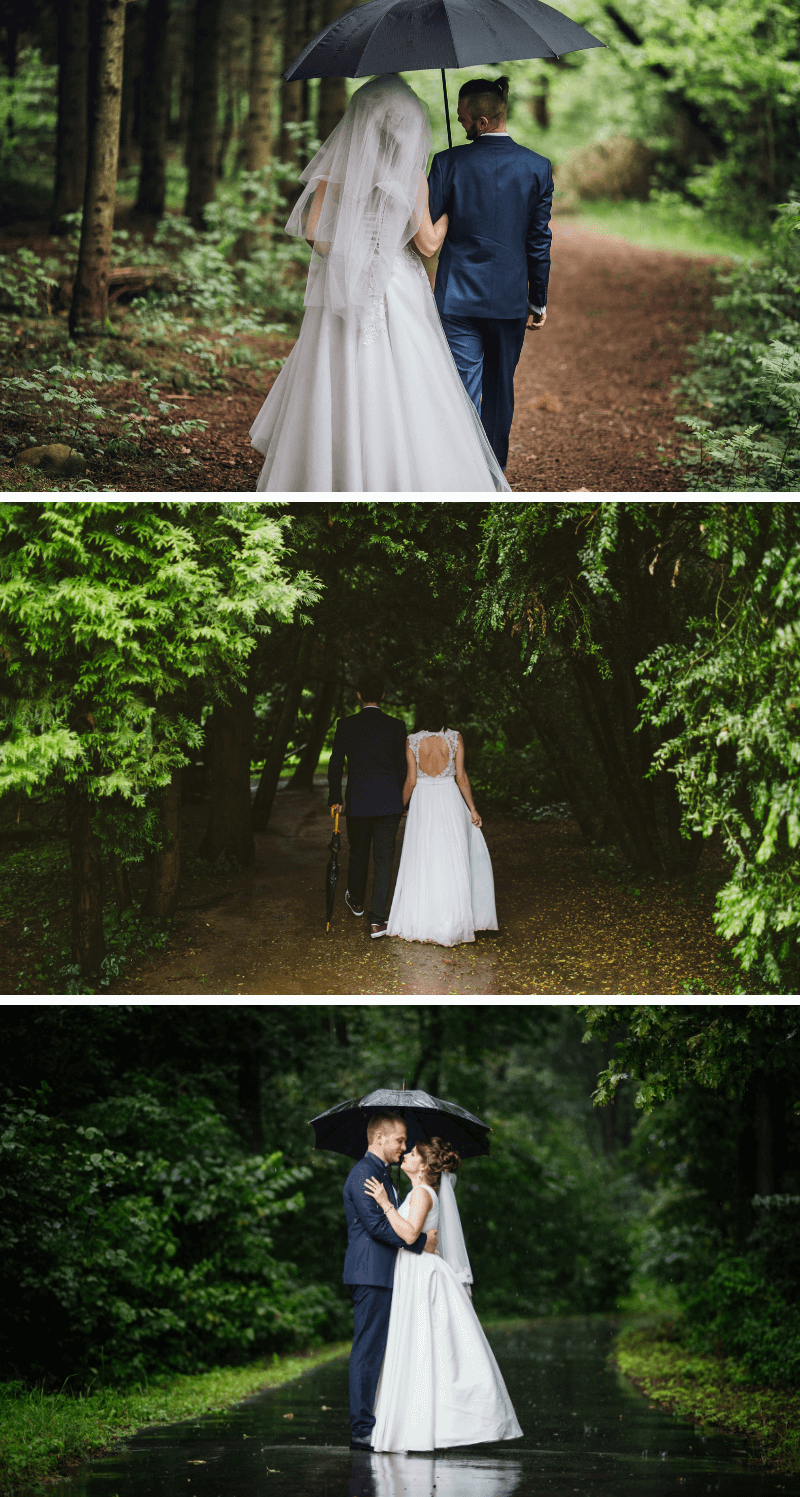 Hochzeitsfotos bei Regen, Hochzeitsfotos im Grünen