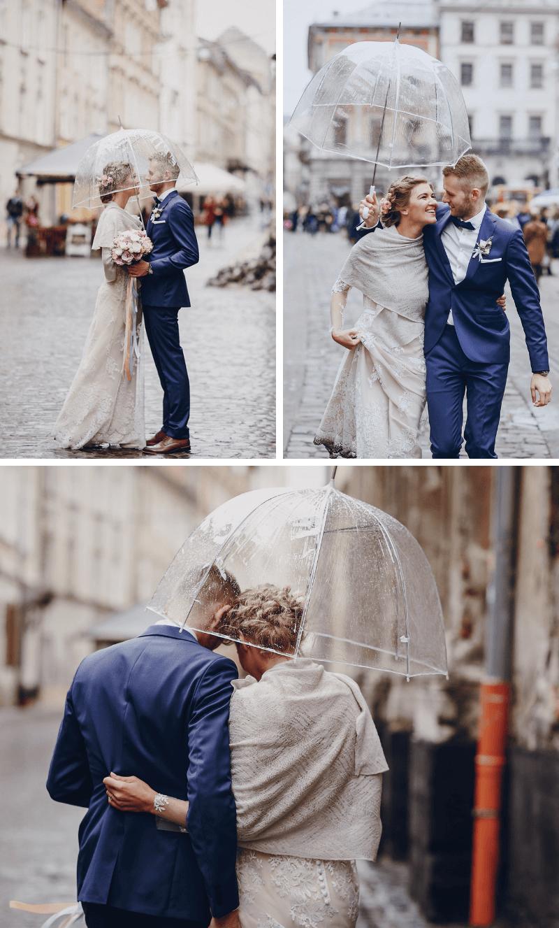 Hochzeitsfotos mit Regenschirm