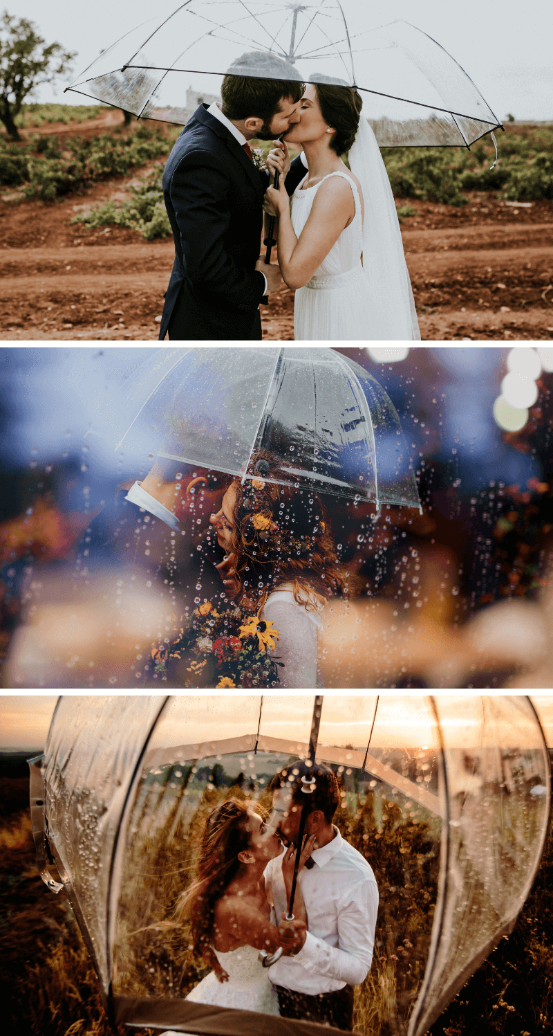 Hochzeitsshooting bei Regen, Regenschirm Hochzeitsfotos