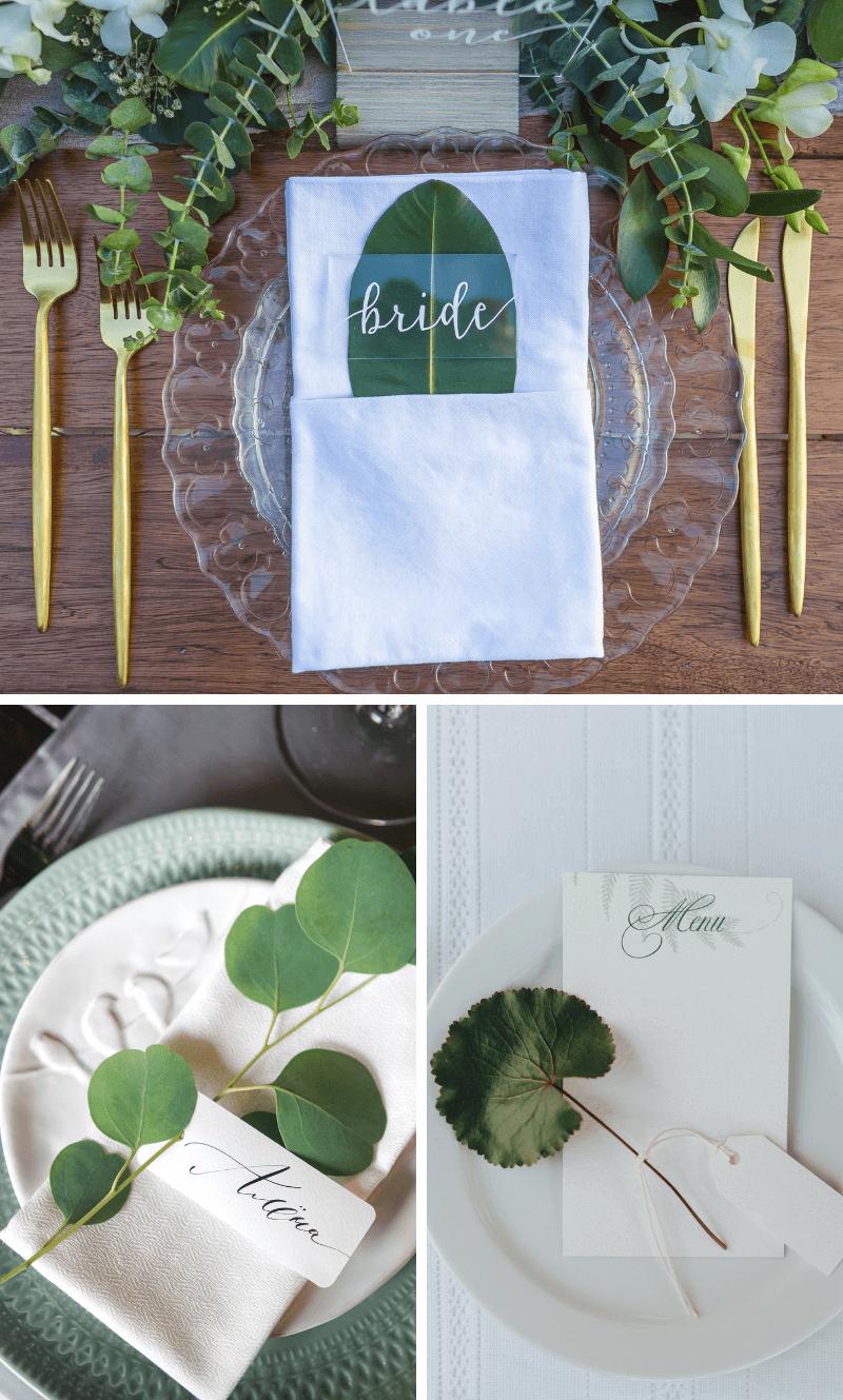 Namenskarten Hochzeit grün, Tischkarten Hochzeit Ideen