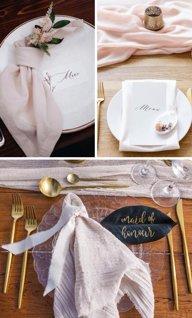 Tischdeko Hochzeit rosa, Platzdeko, Hochzeit Servietten, Teller Dekoration