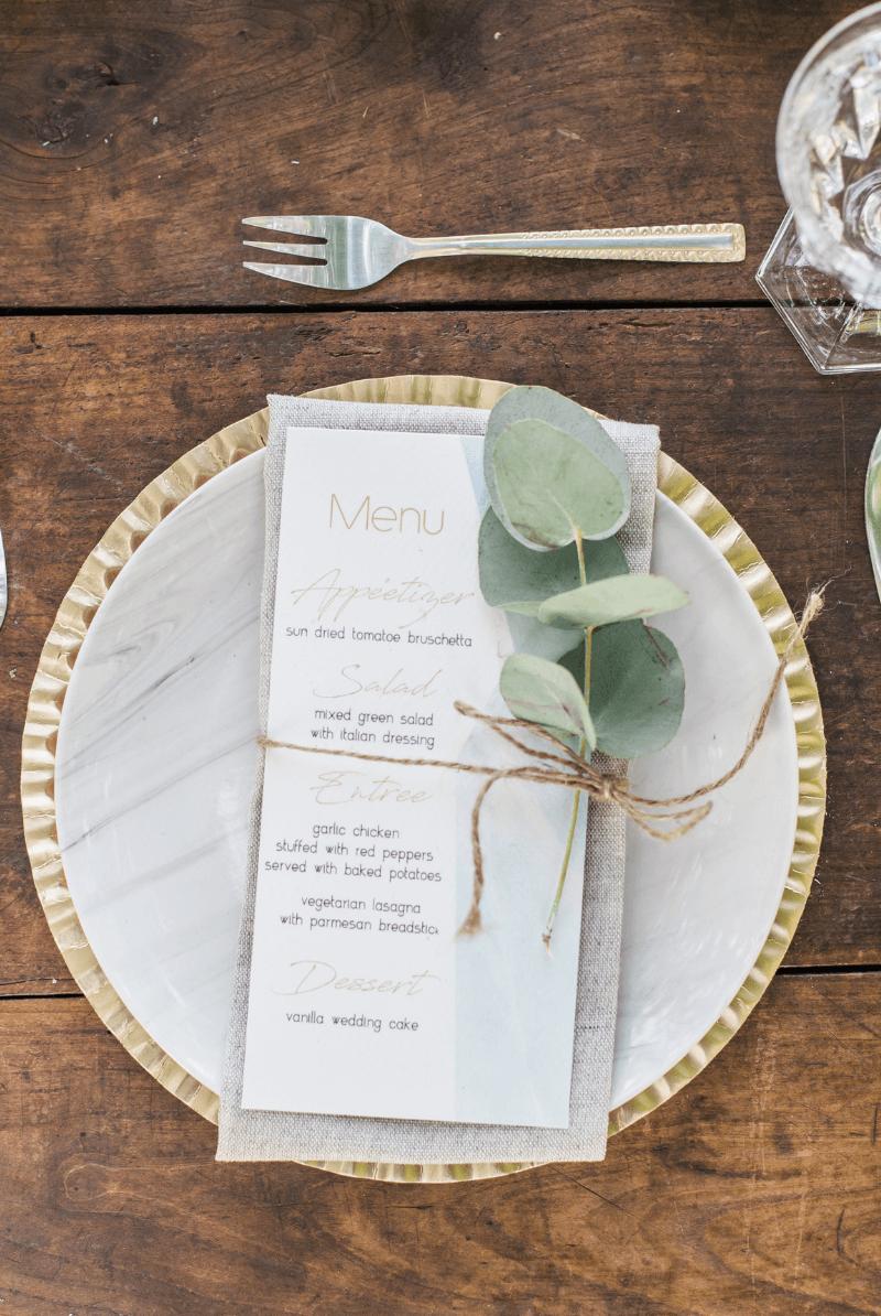 Platzdeko Hochzeit, Menükarte Eukalyptus