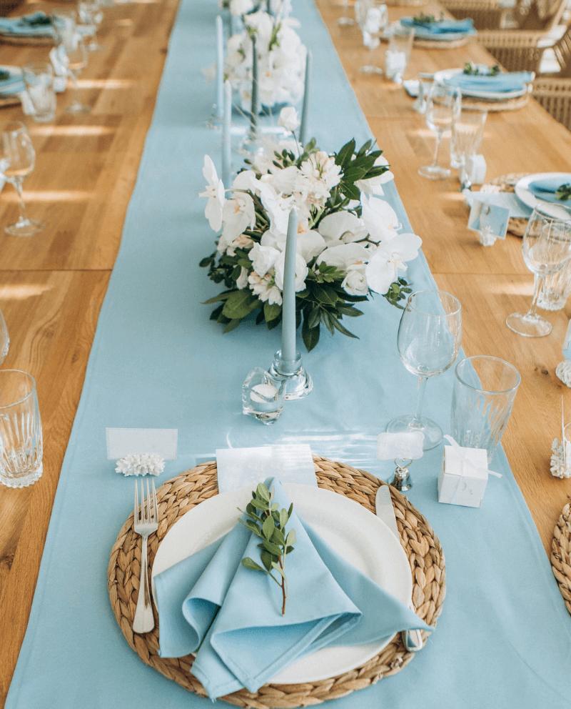Tischdeko Hochzeit blau, Platzdeko, Hochzeit Servietten, Teller Dekoration